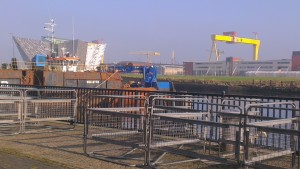One of the best views of Titanic Quarter, rather spoiled by crash barriers.
